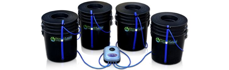 Deep Water Culture (DWC) Hydroponic Bubbler Bucket Kit By PowerGrow® Systems  (4) 5 Gallon U2013 10u201d Buckets